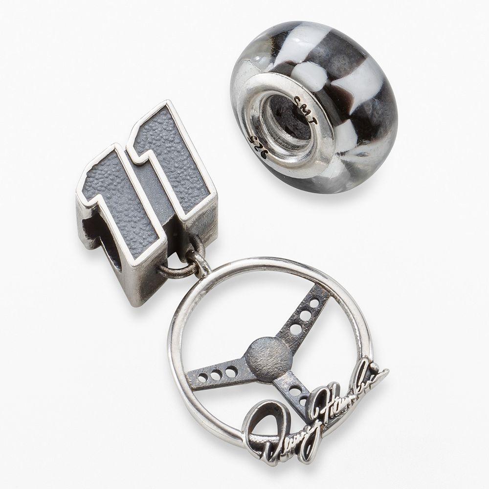 "Insignia Collection NASCAR Denny Hamlin Sterling Silver ""11"" Charm & Checkered Flag Bead Set"