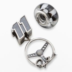 Insignia Collection NASCAR Denny Hamlin Sterling Silver 11 Charm and Checkered Flag Bead Set