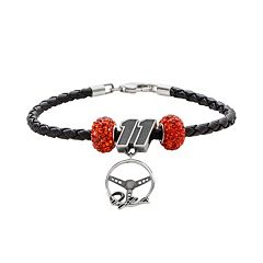 Insignia Collection NASCAR Denny Hamlin Leather Bracelet & Steering Wheel Charm & Crystal Bead Set