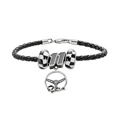 Insignia Collection NASCAR Denny Hamlin Leather Bracelet & Steering Wheel Charm & Bead Set
