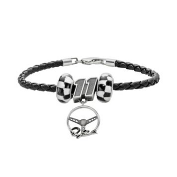 Insignia Collection NASCAR Denny Hamlin Leather Bracelet & Steering Wheel Charm & Bead Set