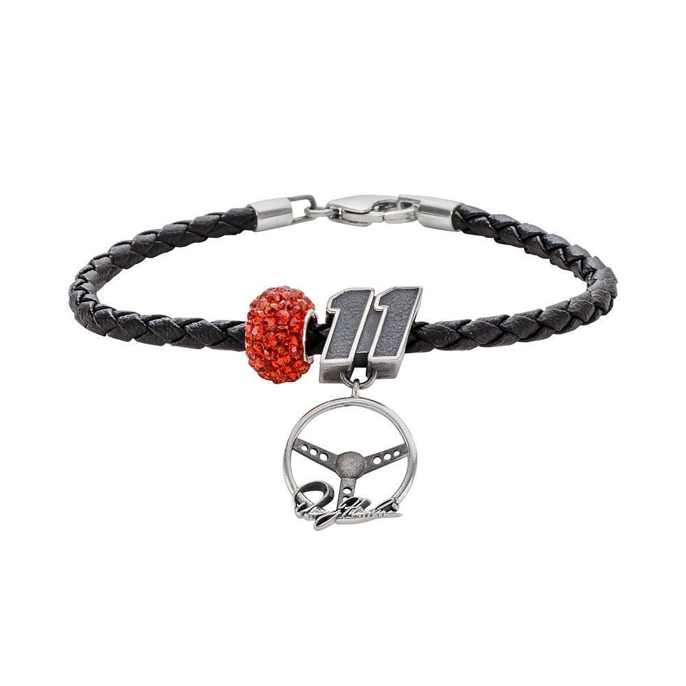 "Insignia Collection NASCAR Denny Hamlin Leather Bracelet & Sterling Silver Crystal ""11"" Steering Wheel Charm & Bead Set"