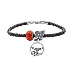 Insignia Collection NASCAR Denny Hamlin Leather Bracelet & Sterling Silver Crystal '11' Steering Wheel Charm & Bead Set