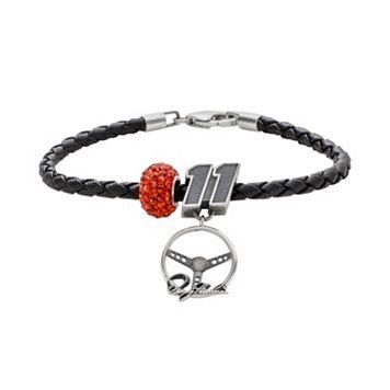 Insignia Collection NASCAR Denny Hamlin Leather Bracelet & Sterling Silver Crystal