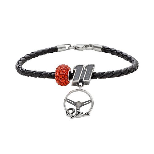 "Insignia Collection NASCAR Denny Hamlin Leather Bracelet & Sterling Silver Crystal ""11"" Steering Wheel Charm & Bead Set"