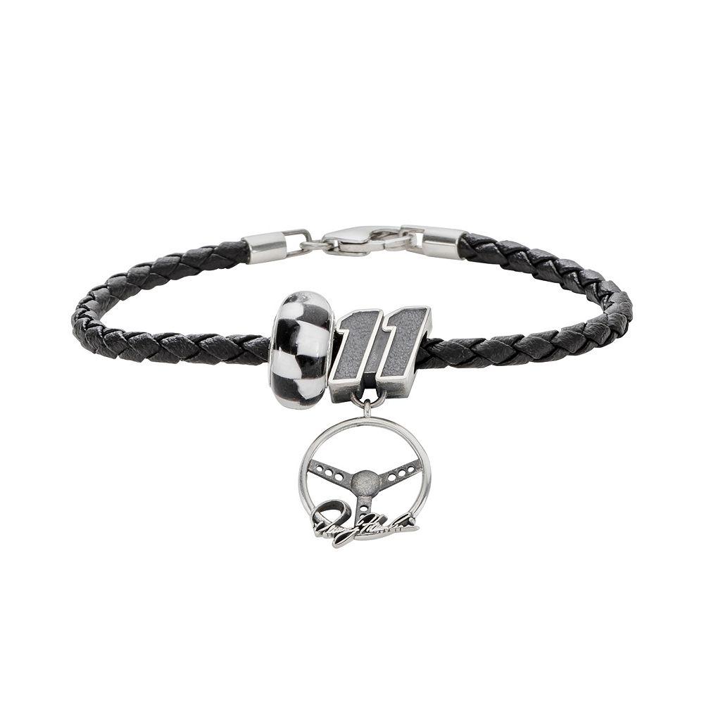"Insignia Collection NASCAR Denny Hamlin Leather Bracelet & Sterling Silver ""11"" Charm & Bead Set"