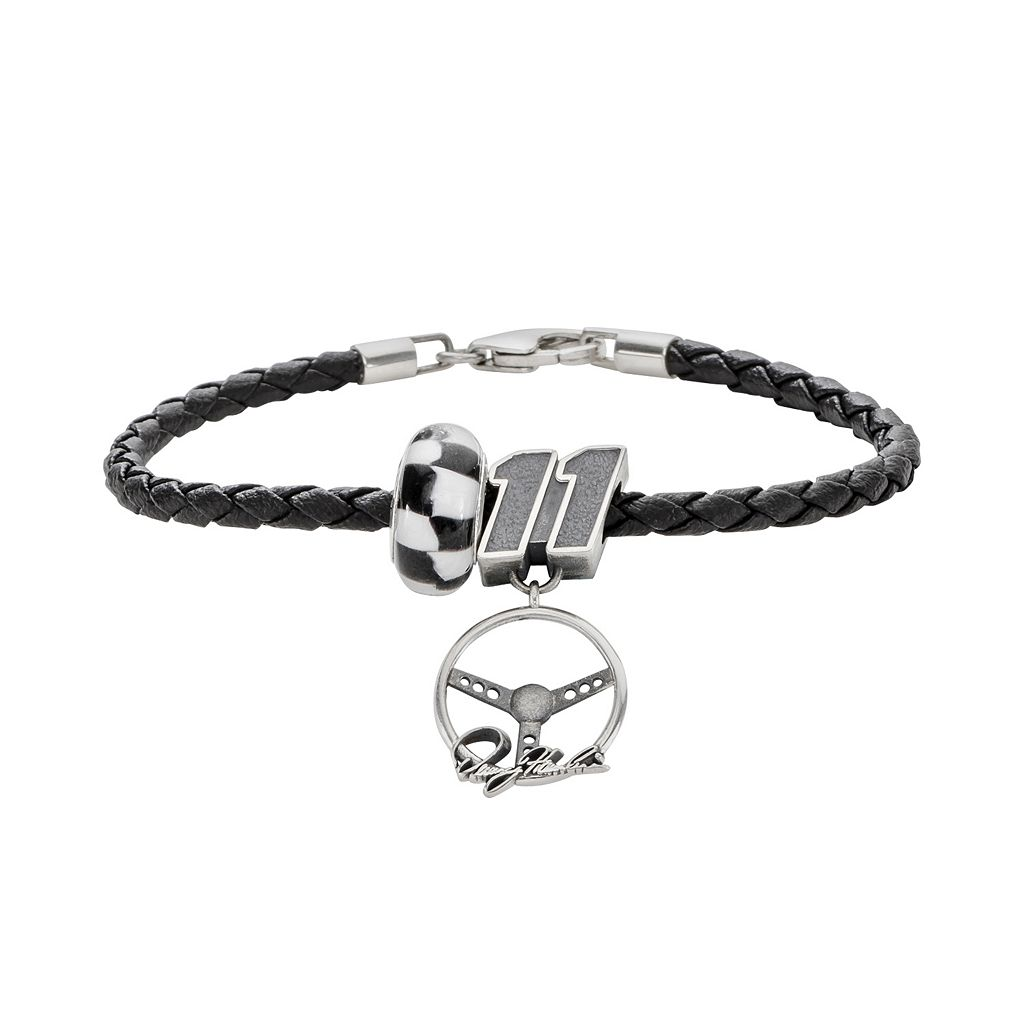 Insignia Collection NASCAR Denny Hamlin Leather Bracelet & Sterling Silver
