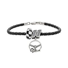 Insignia Collection NASCAR Denny Hamlin Leather Bracelet & Sterling Silver '11' Charm & Bead Set
