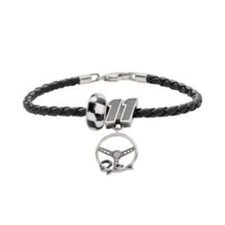 Insignia Collection NASCAR Denny Hamlin Leather Bracelet and Sterling Silver 11 Charm and Bead Set