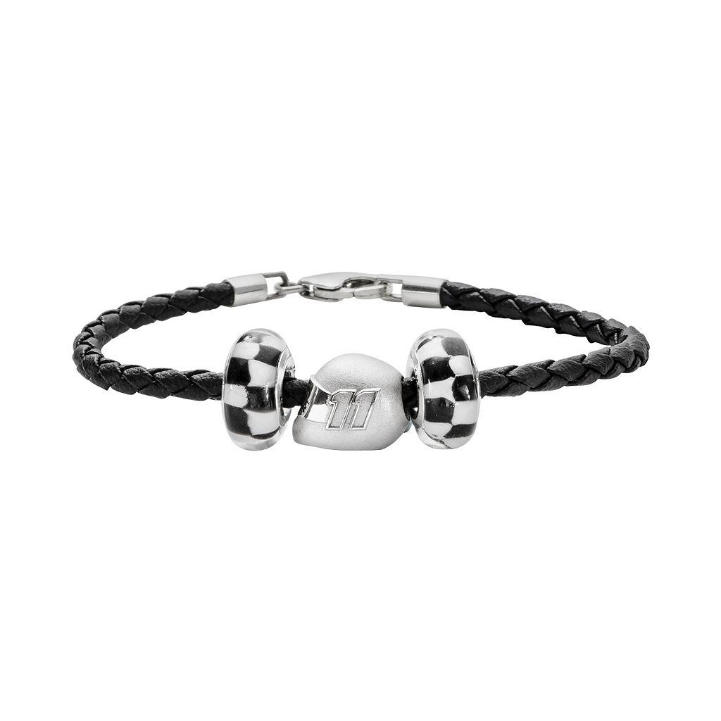 Insignia Collection NASCAR Denny Hamlin Leather Bracelet & Sterling Silver