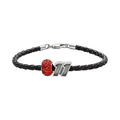 """Insignia Collection NASCAR Denny Hamlin Leather Bracelet & """"11"""" Bead & Crystal Bead Set"""