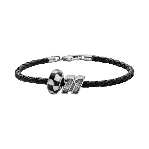 Insignia Collection NASCAR Denny Hamlin Leather Bracelet and Sterling Silver