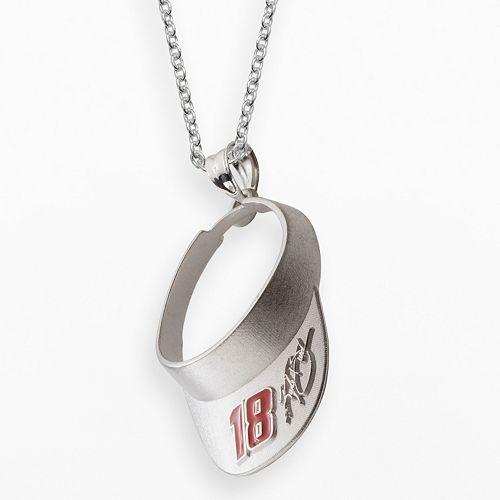 """Insignia Collection NASCAR Kyle Busch Sterling Silver """"18"""" Visor Pendant"""