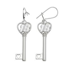 Insignia Collection NASCAR Kyle Busch Sterling Silver '18' Heart Key Drop Earrings