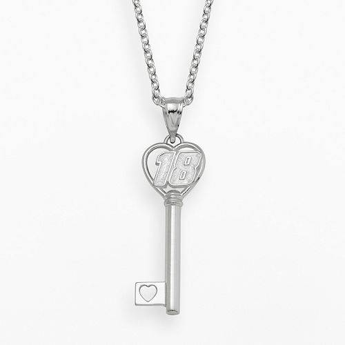 "Insignia Collection NASCAR Kyle Busch Sterling Silver ""18"" Heart Key Pendant"