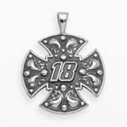 Insignia Collection NASCAR Kyle Busch Sterling Silver '18' Maltese Cross Pendant