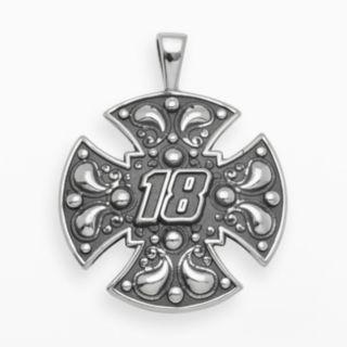 Insignia Collection NASCAR Kyle Busch Sterling Silver 18 Maltese Cross Pendant