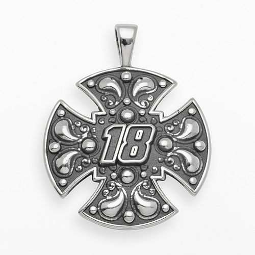 "Insignia Collection NASCAR Kyle Busch Sterling Silver ""18"" Maltese Cross Pendant"