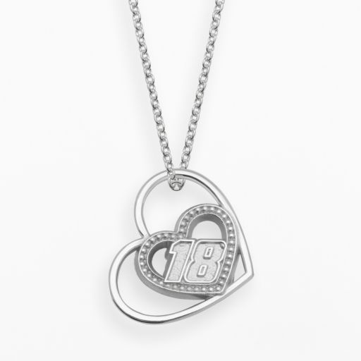 Insignia Collection NASCAR Kyle Busch Sterling Silver 18 Heart Pendant