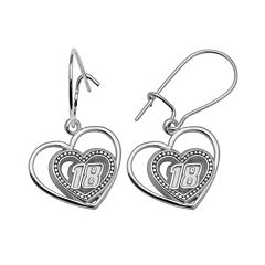 Insignia Collection NASCAR Kyle Busch Sterling Silver '18' Heart Drop Earrings