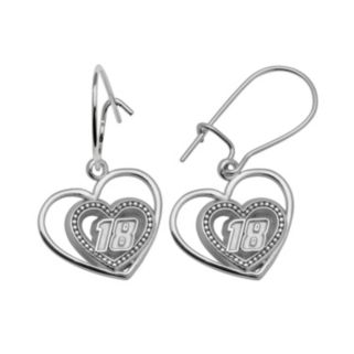 Insignia Collection NASCAR Kyle Busch Sterling Silver 18 Heart Drop Earrings