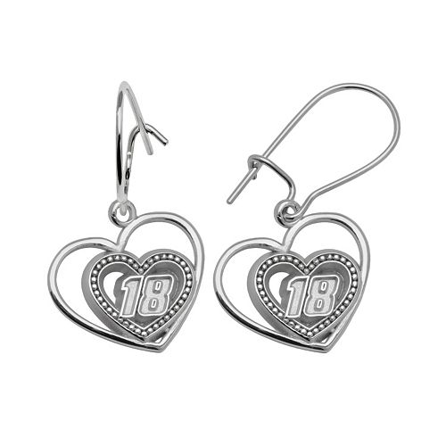 "Insignia Collection NASCAR Kyle Busch Sterling Silver ""18"" Heart Drop Earrings"