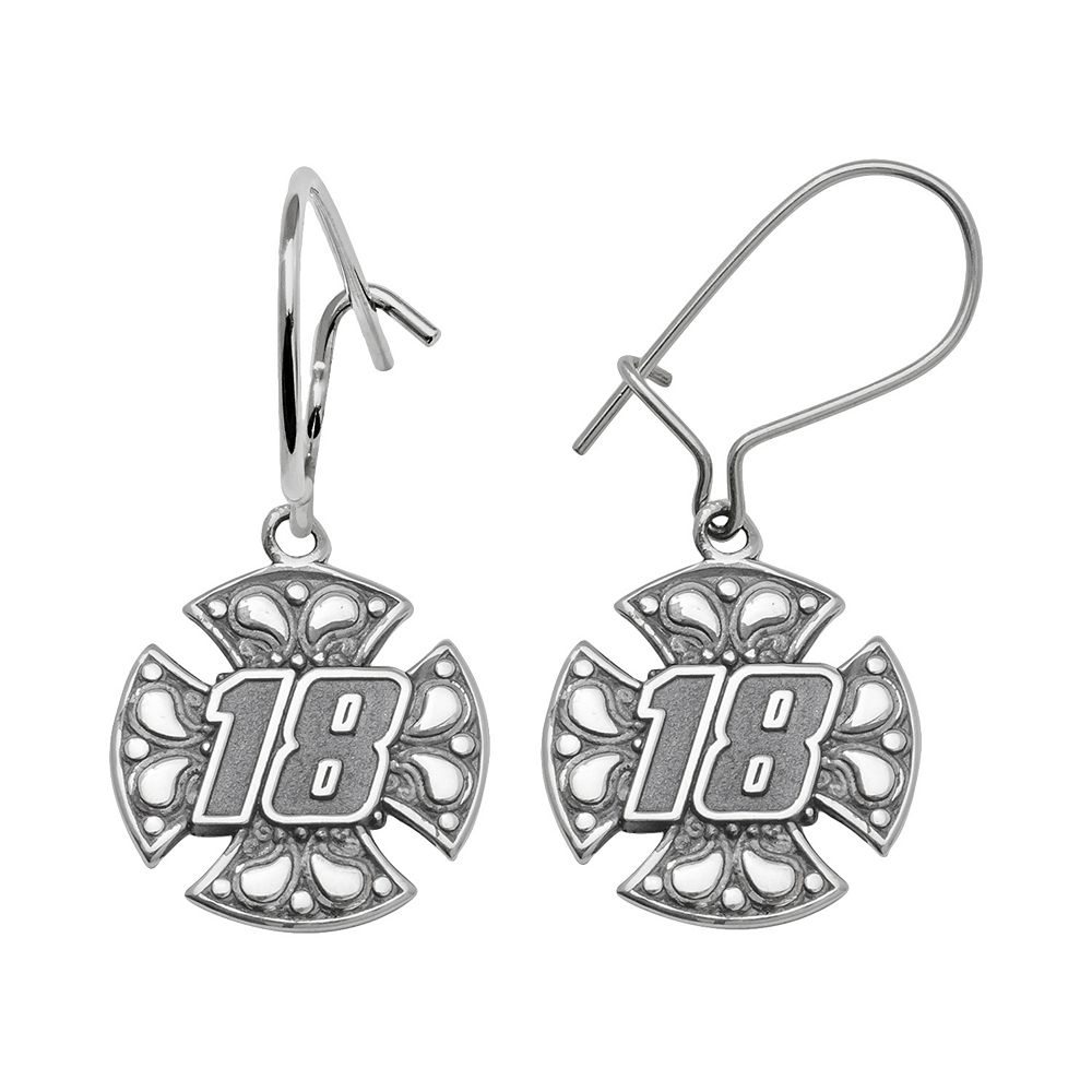 """Insignia Collection NASCAR Kyle Busch Sterling Silver """"18"""" Maltese Cross Drop Earrings"""