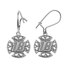 Insignia Collection NASCAR Kyle Busch Sterling Silver '18' Maltese Cross Drop Earrings