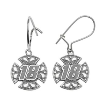 Insignia Collection NASCAR Kyle Busch Sterling Silver 18 Maltese Cross Drop Earrings