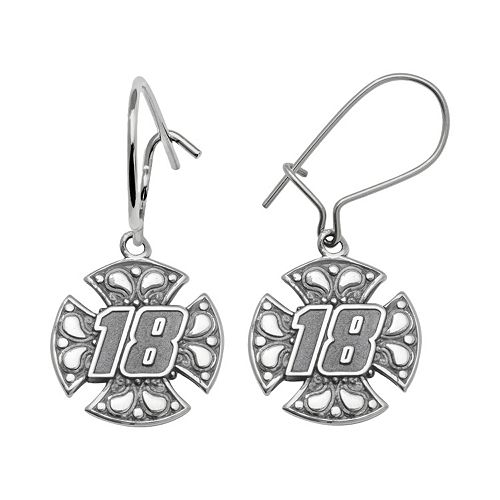 "Insignia Collection NASCAR Kyle Busch Sterling Silver ""18"" Maltese Cross Drop Earrings"