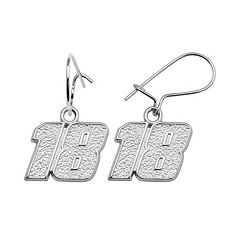 Insignia Collection NASCAR Kyle Busch Sterling Silver '18' Drop Earrings