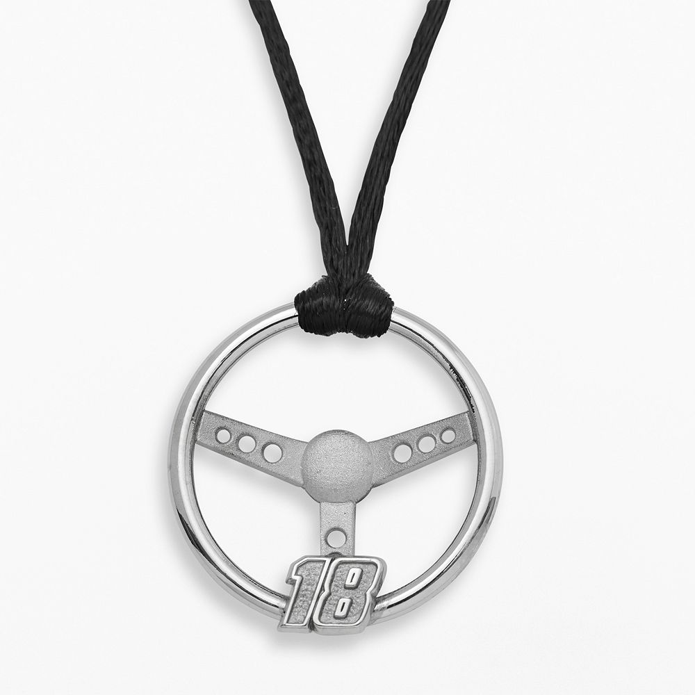 """Insignia Collection NASCAR Kyle Busch Sterling Silver """"18"""" Steering Wheel Pendant"""