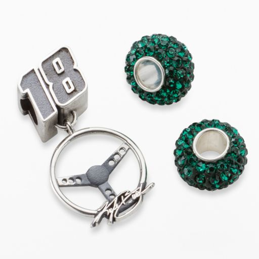 Insignia Collection NASCAR Kyle Busch Sterling Silver 18 Steering Wheel Charm and Crystal Bead Set