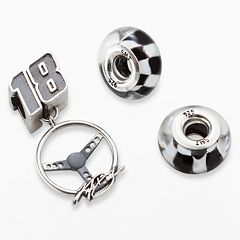 Insignia Collection NASCAR Kyle Busch Sterling Silver '18' Steering Wheel Charm & Checkered Flag Bead Set