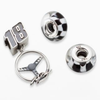 Insignia Collection NASCAR Kyle Busch Sterling Silver 18 Steering Wheel Charm and Checkered Flag Bead Set
