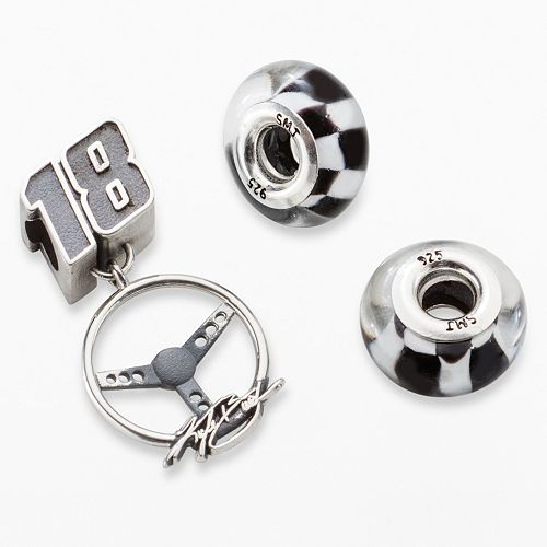 "Insignia Collection NASCAR Kyle Busch Sterling Silver ""18"" Steering Wheel Charm & Checkered Flag Bead Set"