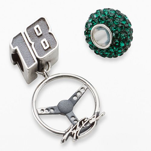 "Insignia Collection NASCAR Kyle Busch Sterling Silver ""18"" Steering Wheel Charm & Crystal Bead Set"