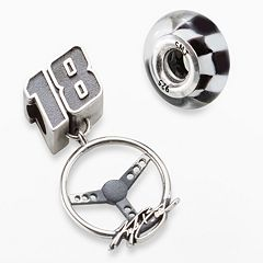 Insignia Collection NASCAR Kyle Busch Sterling Silver '18' Charm & Checkered Flag Bead Set