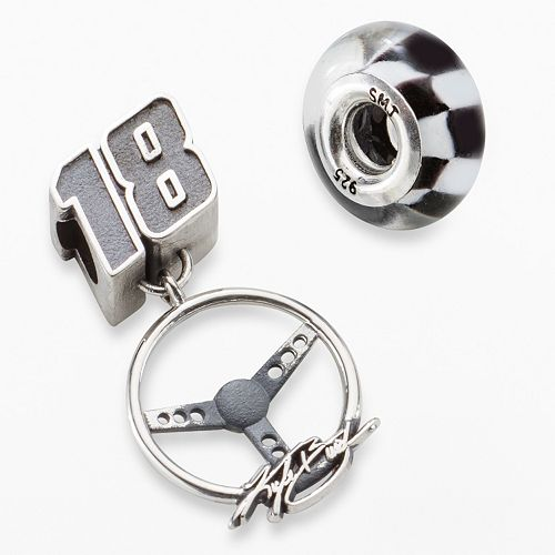 """Insignia Collection NASCAR Kyle Busch Sterling Silver """"18"""" Charm & Checkered Flag Bead Set"""