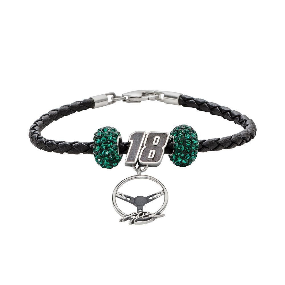 Insignia Collection NASCAR Kyle Busch Leather Bracelet & Steering Wheel Charm & Crystal Bead Set