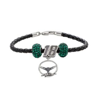 Insignia Collection NASCAR Kyle Busch Leather Bracelet and Steering Wheel Charm and Crystal Bead Set