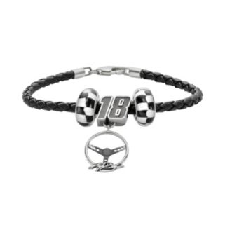 Insignia Collection NASCAR Kyle Busch Leather Bracelet and Steering Wheel Charm and Bead Set