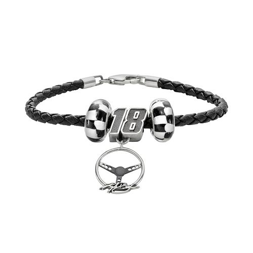 Insignia Collection NASCAR Kyle Busch Leather Bracelet & Steering Wheel Charm & Bead Set