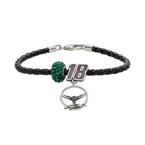 Insignia Collection NASCAR Kyle Busch Leather Bracelet, Charm & Bead Set