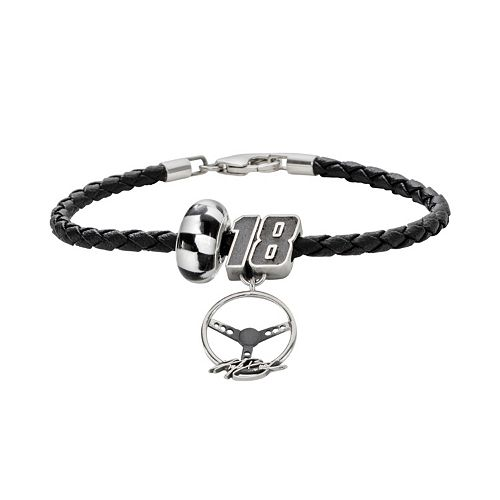 Insignia Collection NASCAR Kyle Busch Leather Bracelet & Sterling Silver 18 Charm & Bead Set