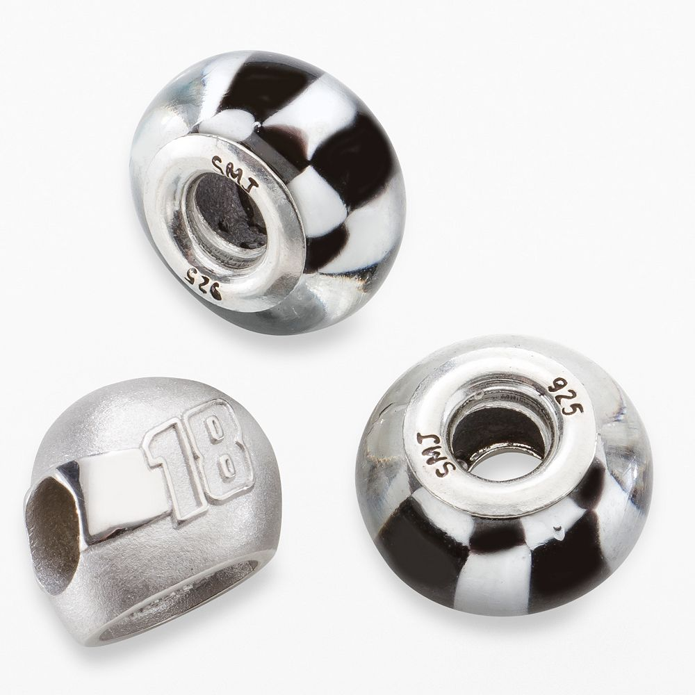 "Insignia Collection NASCAR Kyle Busch Sterling Silver ""18"" Helmet & Checkered Flag Bead Set"