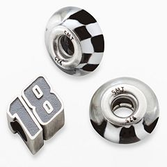 Insignia Collection NASCAR Kyle Busch Sterling Silver '18' & Checkered Flag Bead Set