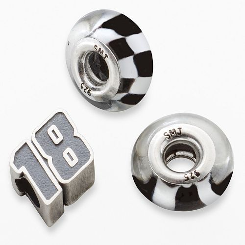 "Insignia Collection NASCAR Kyle Busch Sterling Silver ""18"" & Checkered Flag Bead Set"