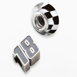 Insignia Collection NASCAR Kyle Busch Sterling Silver 18 and Checkered Flag Bead Set