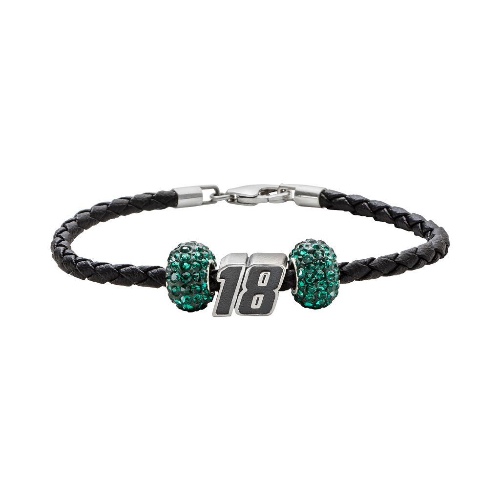 Insignia Collection NASCAR Kyle Busch Leather Bracelet & Sterling Silver Crystal &